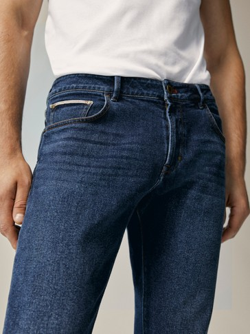 SLIM-FIT-JEANS IN VINTAGE-OPTIK