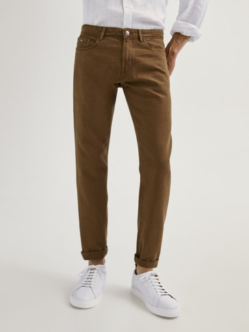 CASUAL FIT DENIM-EFFECT TROUSERS
