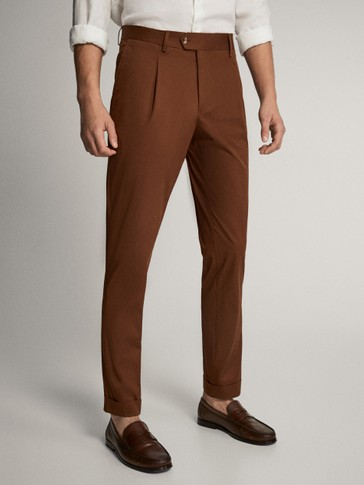 SLIM FIT COTTON TROUSERS WITH DARTS