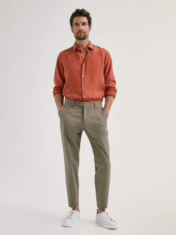 SLIM FIT COTTON TWILL TROUSERS