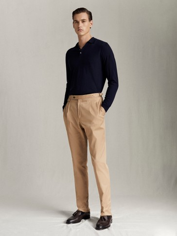 SLIM FIT COTTON TWILL TROUSERS WITH DARTS