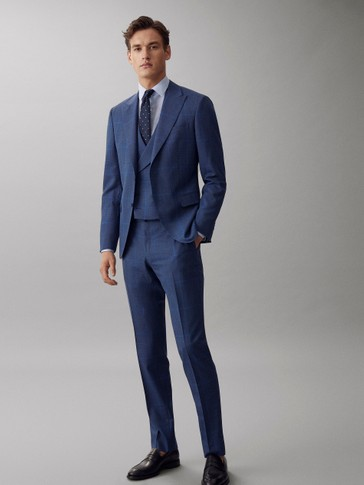 SLIM FIT BLUE CHECK S.130'S WOOL TROUSERS