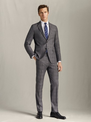 SLIM FIT 100% SUPER 120'S WOOL CHECK TROUSERS