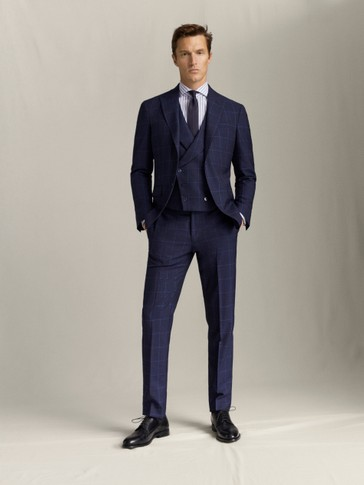SLIM FIT NAVY CHECK 100% WOOL TROUSERS
