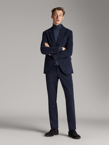 NAVY MOLESKIN REGULAR FIT TROUSERS