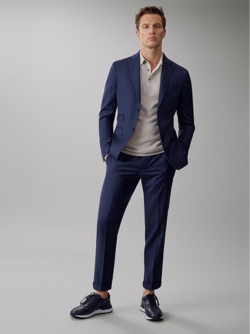 SLIM FIT TEXTURED WEAVE 100% SUPER 120'S WOOL TROUSERS