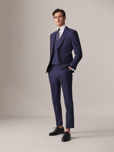 SLIM FIT NAVY PINSTRIPE 100% S.130'S WOOL TROUSERS