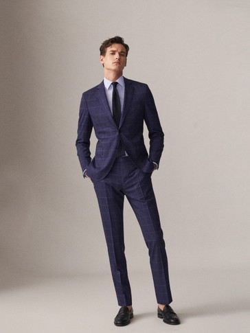 SLIM FIT BLUE CHECK 100% S.130'S WOOL TROUSERS