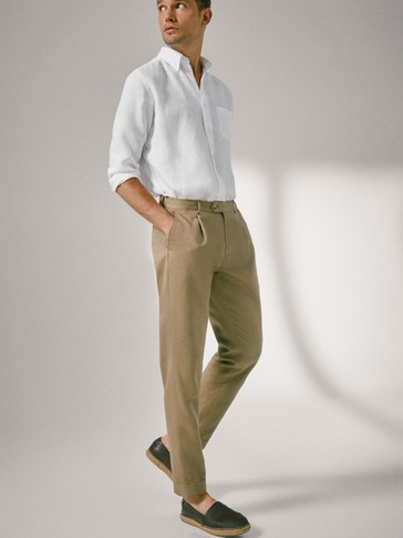 SLIM FIT COTTON LINEN TROUSERS WITH DARTS