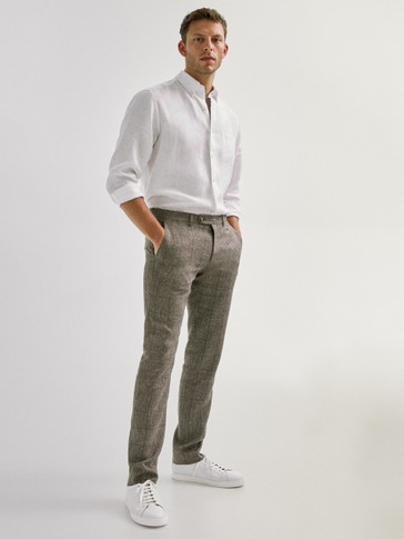 CHECK LINEN TROUSERS