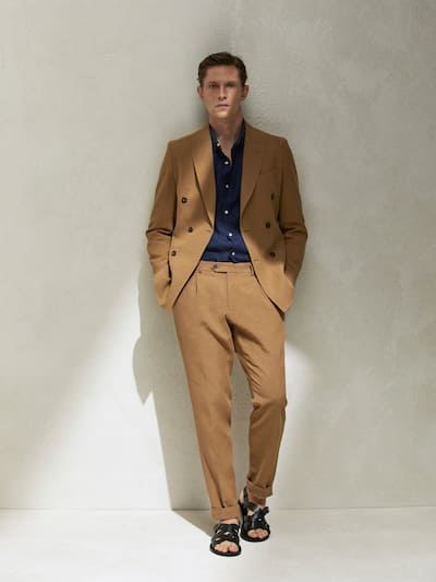 마시모두띠 Massimo Dutti LIMITED EDITION SLIM FIT LINEN TROUSERS,BEIGE