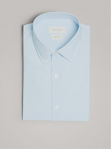 SLIM FIT FIL À FIL COTTON SHIRT