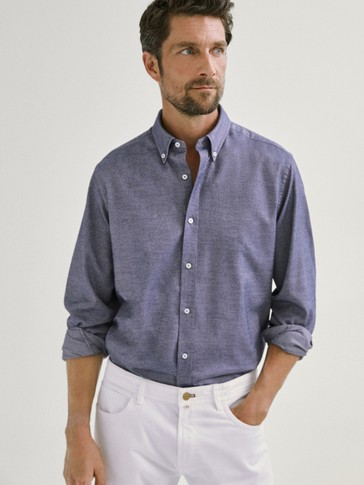 SLIM FIT COTTON BLEND OXFORD SHIRT