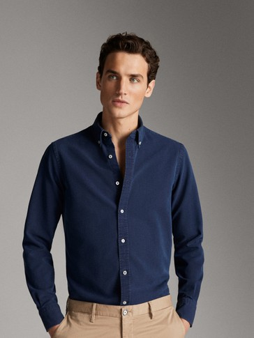 DENIM SLIM FIT COTTON OXFORD SHIRT
