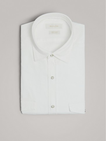 SLIM FIT COTTON TWILL SHIRT WITH POCKETS