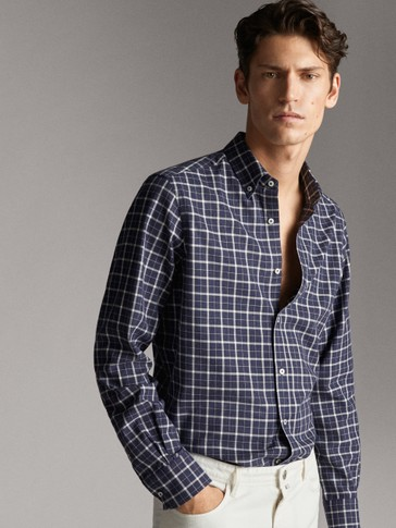 CAMICIA REGULAR FIT A QUADRI MELANGE IN COTONE