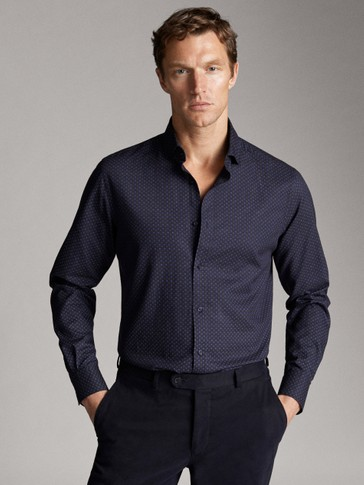 NAVY SLIM FIT COTTON TWILL PRINT SHIRT