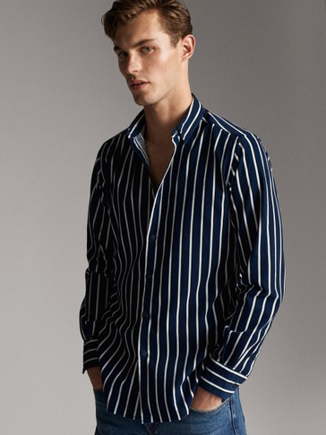 SLIM FIT STRIPED NEEDLECORD COTTON SHIRT