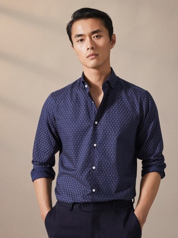 NAVY BLUE SLIM FIT TWILL PRINT SHIRT