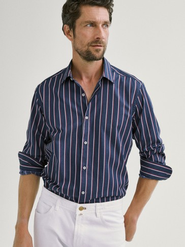 TWO-TONE NAVY STRIPED SLIM FIT COTTON SHIRT