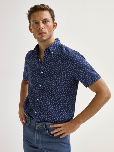SLIM FIT FLORAL PRINT SHORT SLEEVE LINEN SHIRT