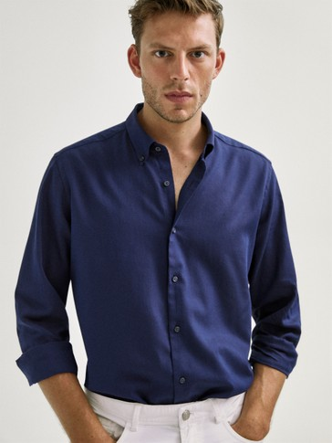 SLIM FIT NAVY COTTON FALSE PLAIN SHIRT