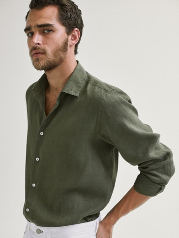 SLIM FIT DYED 100% LINEN SHIRT