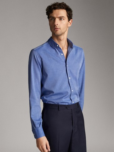 SLIM FIT COTTON FALSE PLAIN SHIRT