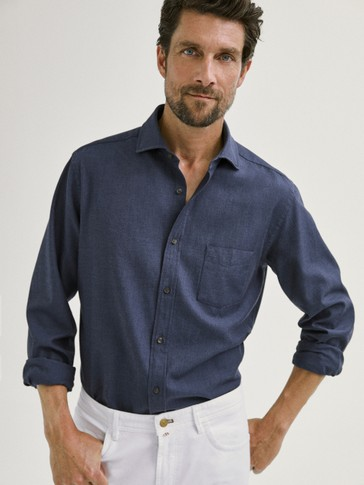 SLIM FIT COTTON MELANGE TWILL SHIRT