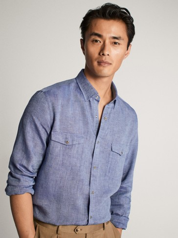 100% LINEN TWO POCKET SHIRT