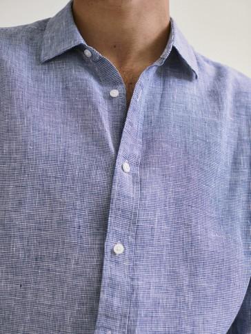 قميص بنقشة المربعات من الكتان قصة عادية