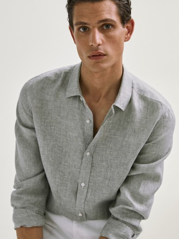 REGULAR FIT LINEN HOUNDSTOOTH SHIRT