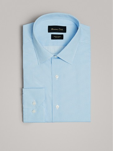 POLKA DOT PRINT SLIM FIT COTTON SHIRT