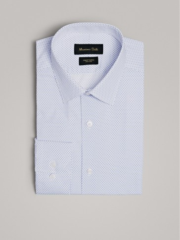 SLIM FIT PRINT OTTOMAN COTTON SHIRT