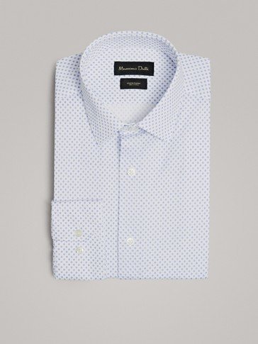 SLIM FIT PRINT COTTON SHIRT