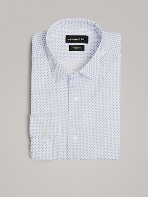 마시모두띠 Massimo Dutti SLIM FIT PRINT COTTON SHIRT,SKY BLUE
