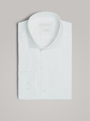 SLIM FIT EASY IRON TWILL COTTON SHIRT