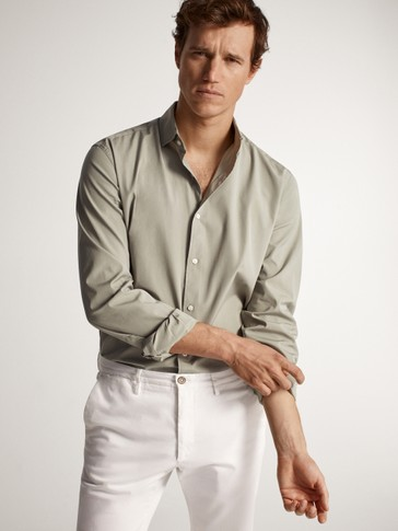 SLIM FIT DYED COTTON SHIRT