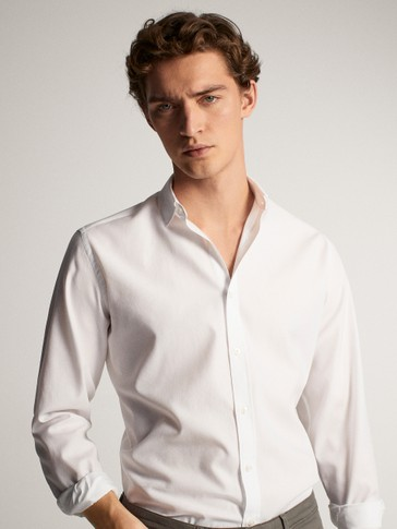 REGULAR FIT TEXTURED COTTON SHIRT