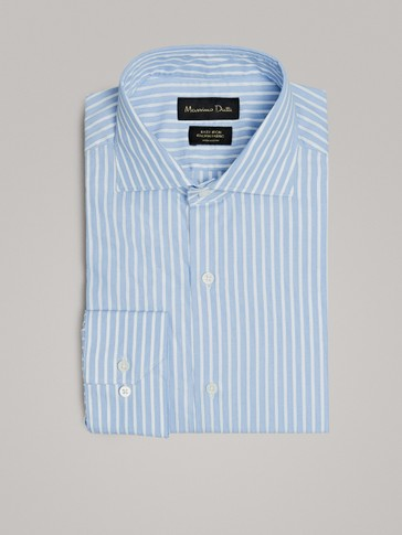 STRIPED SLIM FIT EASY IRON COTTON SHIRT