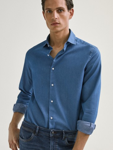 SLIM FIT DENIM COTTON SHIRT