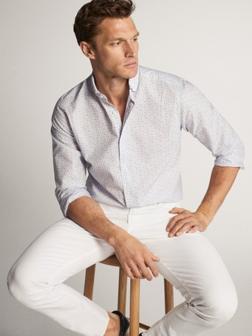 SLIM FIT COTTON AND LINEN PRINT SHIRT