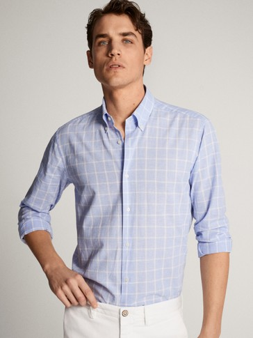 SLIM FIT COTTON/LINEN CHECK SHIRT