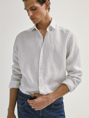 SLIM FIT 100% LINEN PRINT SHIRT