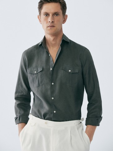 LIMITED EDITION REGULAR FIT DOUBLE POCKET LINEN SHIRT