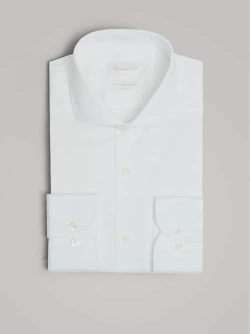 마시모두띠 Massimo Dutti SLIM FIT TEXTURED COTTON SHIRT,WHITE