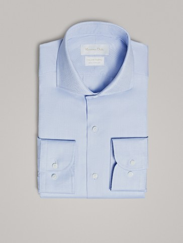 SLIM FIT HERRINGBONE COTTON SHIRT