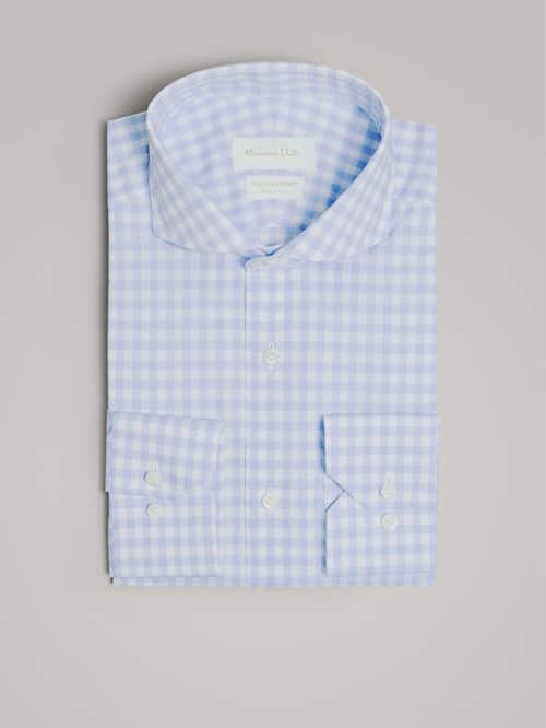 마시모두띠 Massimo Dutti SLIM FIT GINGHAM COTTON SHIRT,SKY BLUE