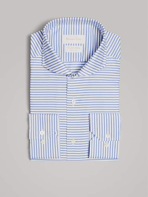 마시모두띠 Massimo Dutti SLIM FIT HORIZONTAL STRIPED COTTON SHIRT,BLUE