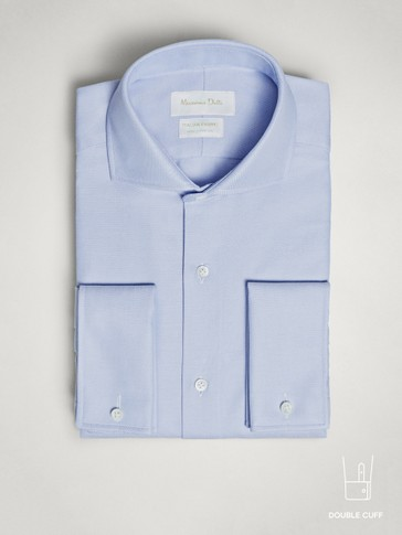 SLIM FIT TEXTURED COTTON SHIRT WITH DOUBLE CUFFS